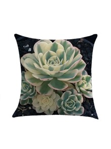Contrast Succulents Print Pillowcase Cover