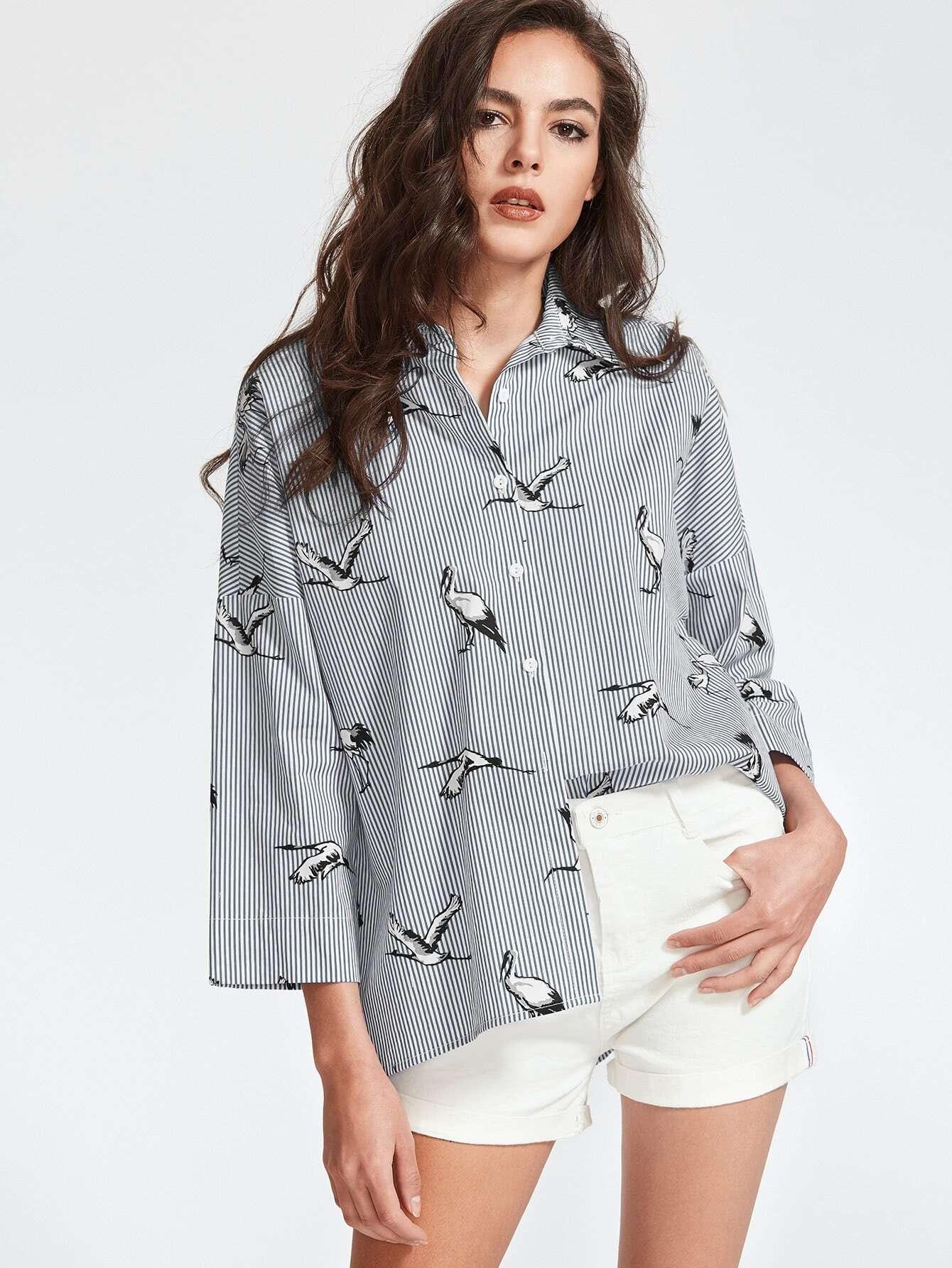 Pinstripe Crane Print Drop Shoulder Shirt drop shoulder crane bird embroidered sweatshirt