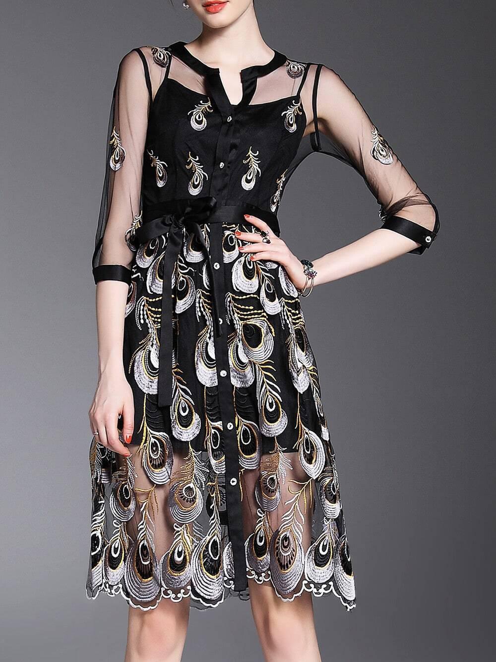 Фото V Neck Feathers Embroidered Sheer Dress. Купить с доставкой