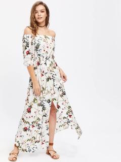 Flower Print Smocked Waist Split Front Bardot Dress