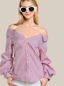 Collared Striped Bardot Shirt