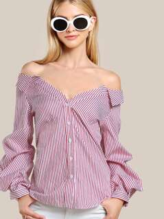 Collared Striped Bardot Shirt