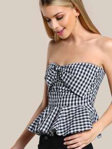 Bow Front Gingham Peplum Bustier Top