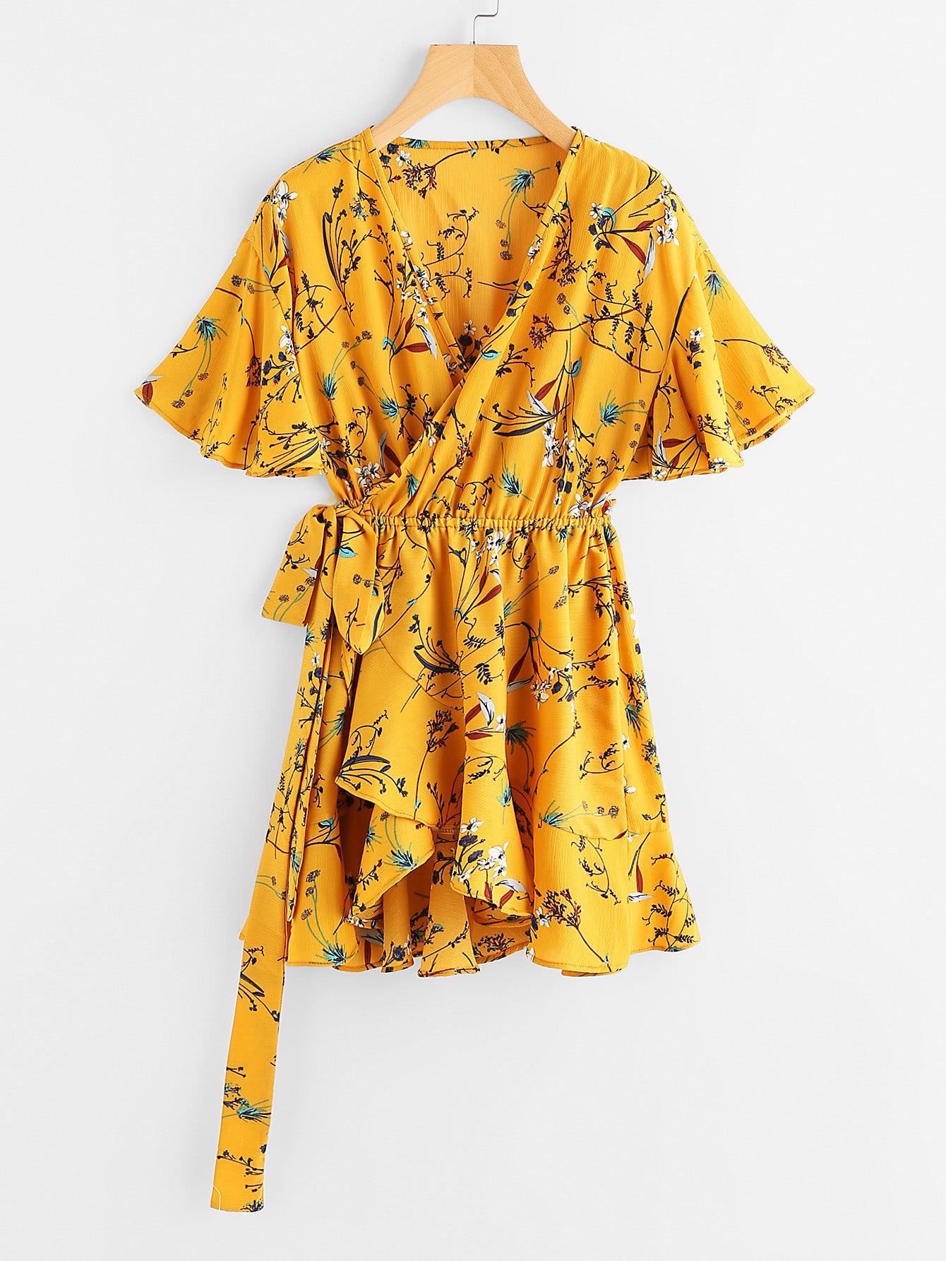 Floral Print Surplice Self Tie Waist Dress