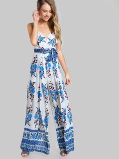 Double Strap Floral Print Jumpsuit ROYAL BLE