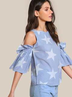 Starry Striped Cold Shouler Bardot Sleeve Top ICE BLUE