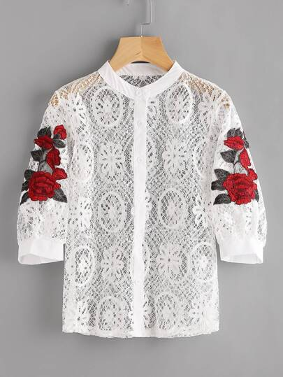 Rose Applique Hollow Out Button Front Lace Top