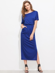 Asymmetric Shoulder Side Split Elastic Waist Dress