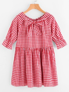 Bow Neck Button Back Trumpet Sleeve Gingham Smock Dress