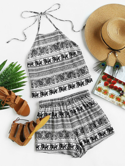 Mixed Print Self Tie Halter Top And Shorts Set
