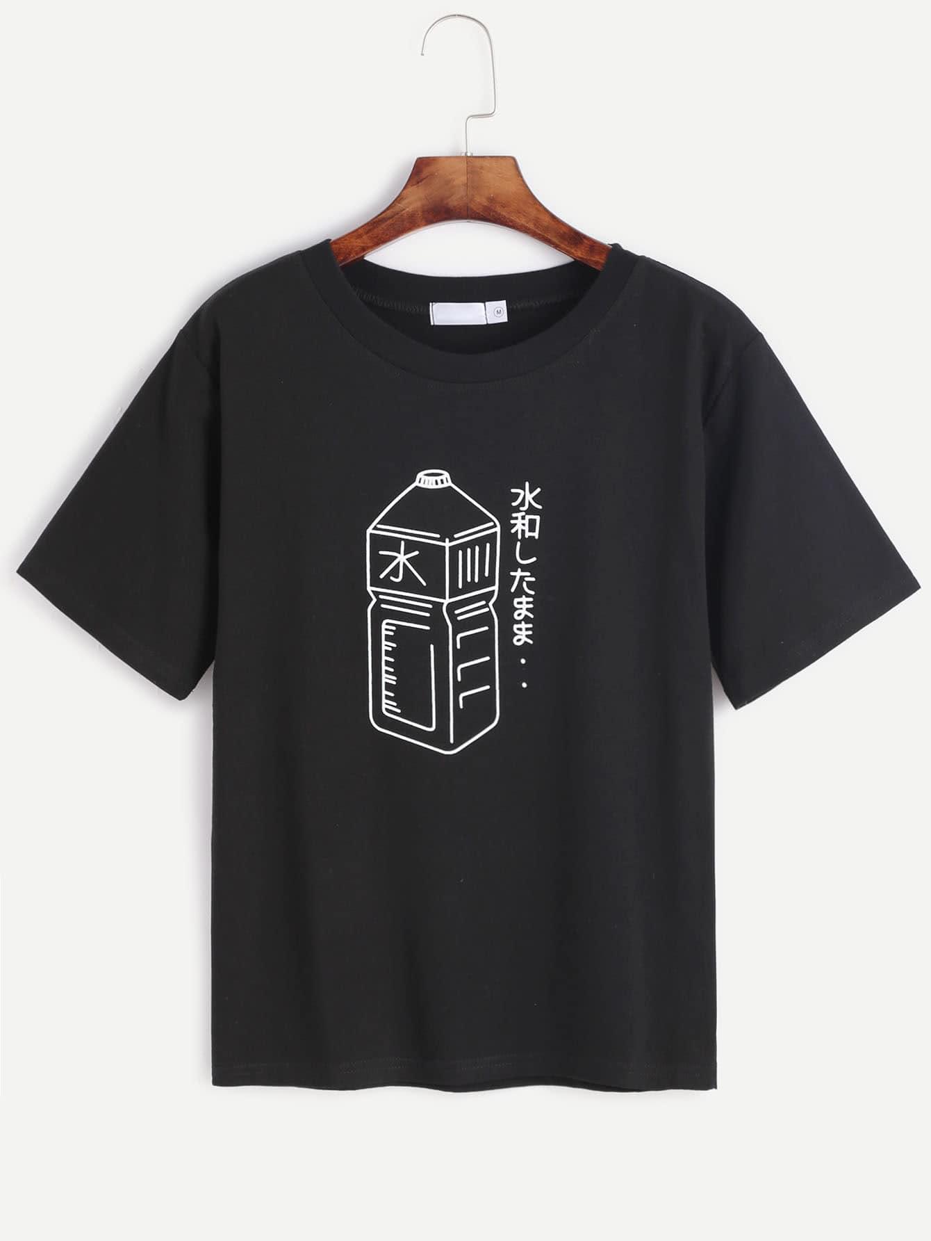 Фото Black Bottle And Character Print T-shirt. Купить с доставкой