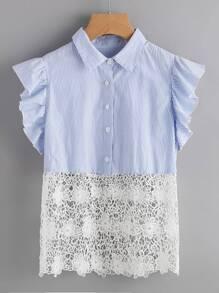 Crochet Trim Flutter Sleeve Striped Blouse