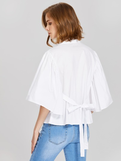 Tied Back Exaggerate Fluted Sleeve Blouse