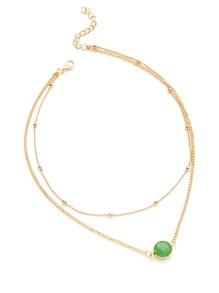 Contrast Glass Pendant Double Layer Necklace