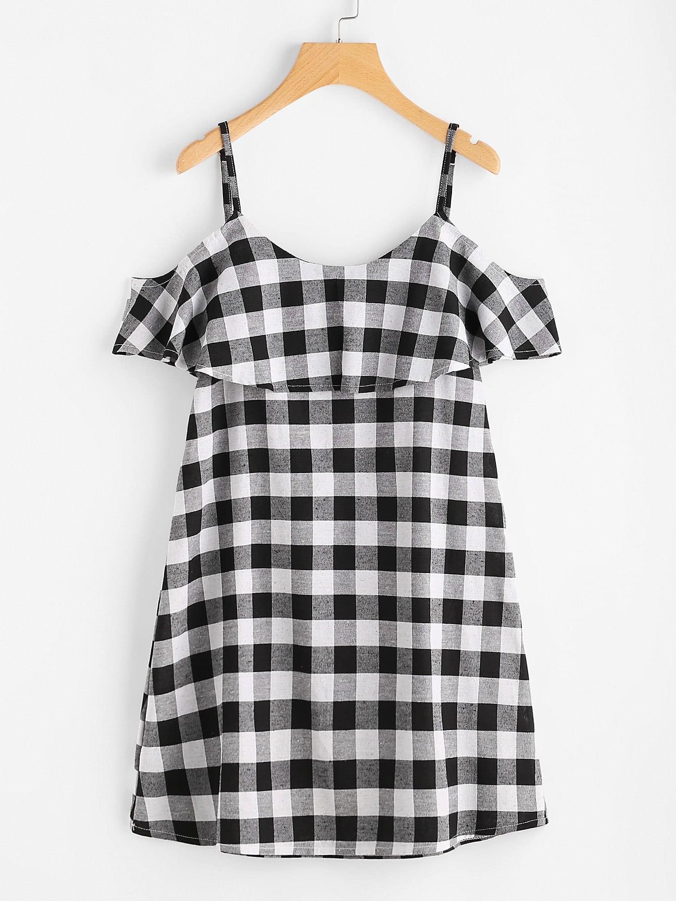 Фото Checkered Frill Trim Dress. Купить с доставкой
