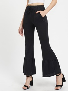 Ruffle Trim Flared Pants