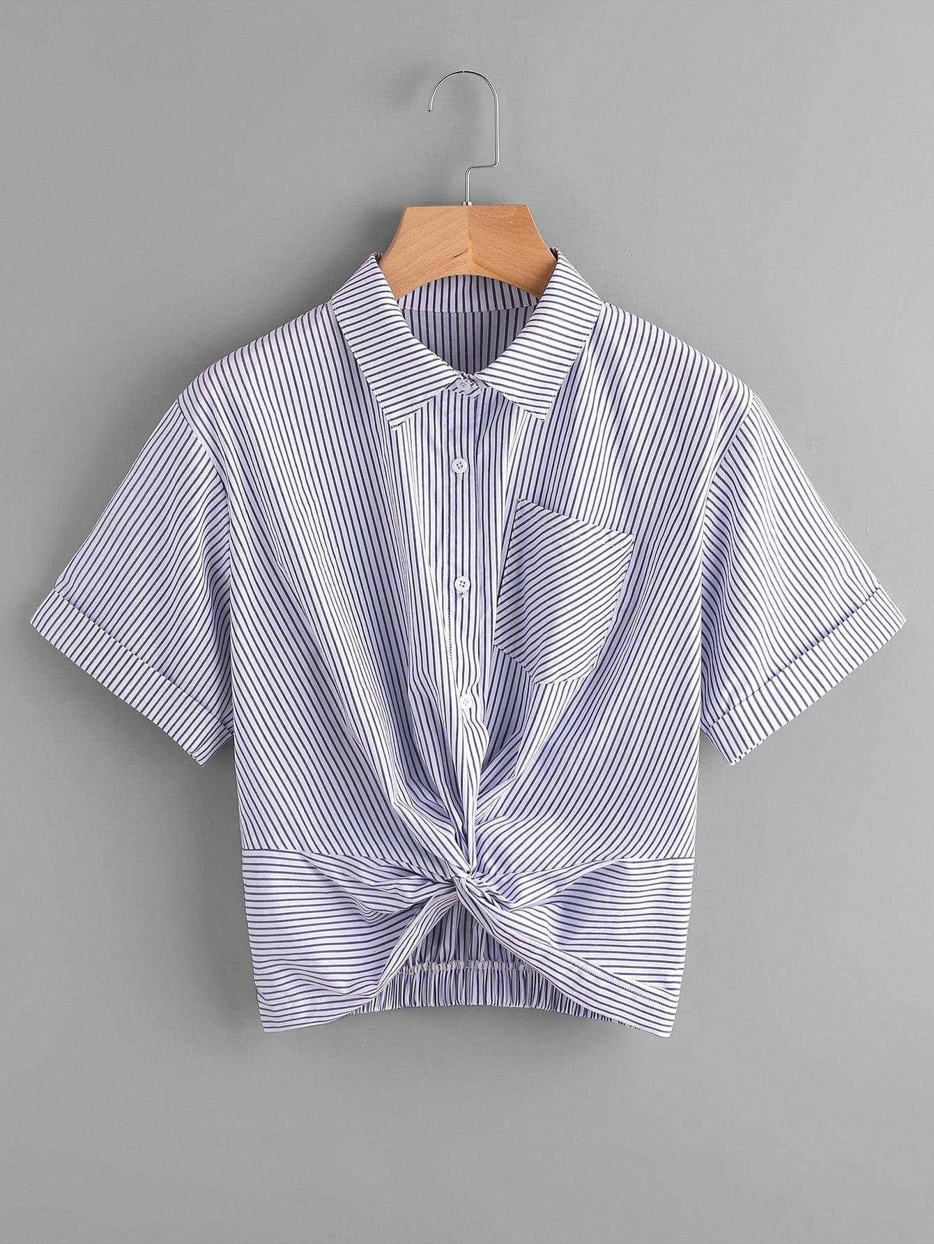 Фото Twist Front Gathered Back Cuffed Shirt. Купить с доставкой