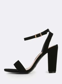Nubuck Ankle Strap Heels BLACK