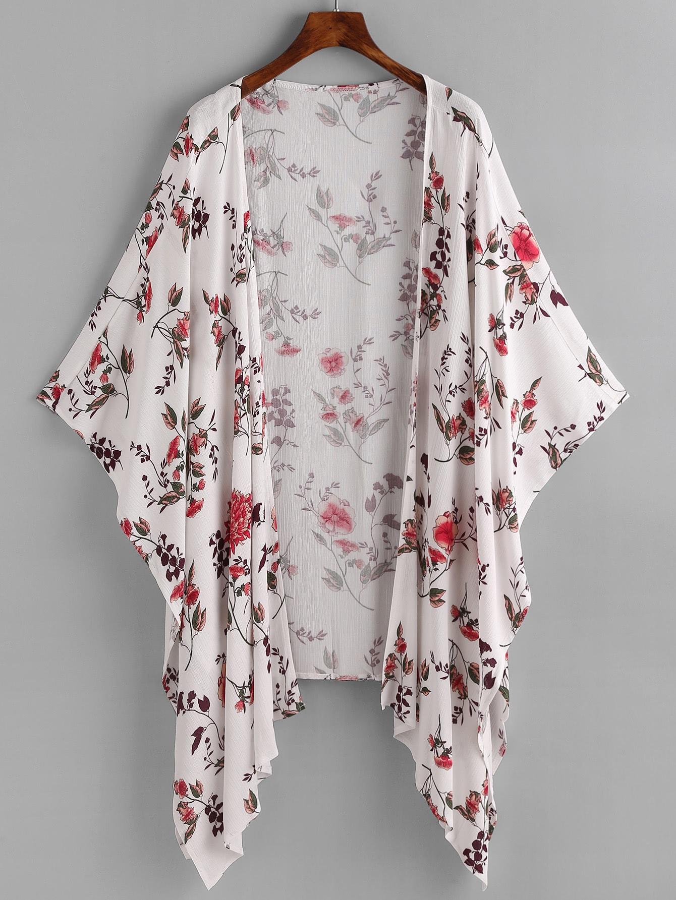 Фото Floral Print Random Asymmetric Hem Kimono. Купить с доставкой
