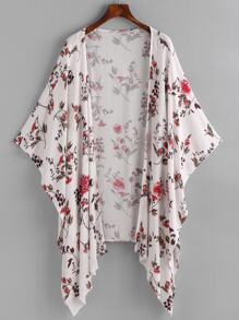 Kimono asimétrico con estampado floral al azar