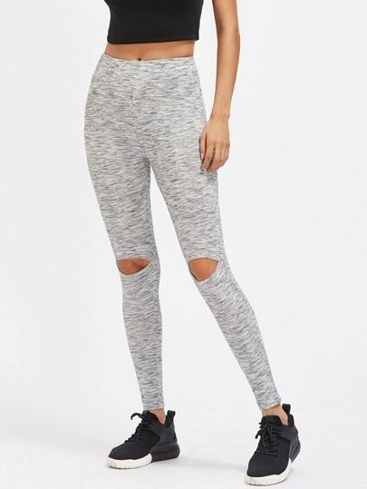 Space Dye Open Knee Ribbed Leggings