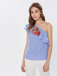 3D Flower Applique Layered Flounce One Shoulder Pinstripe Top