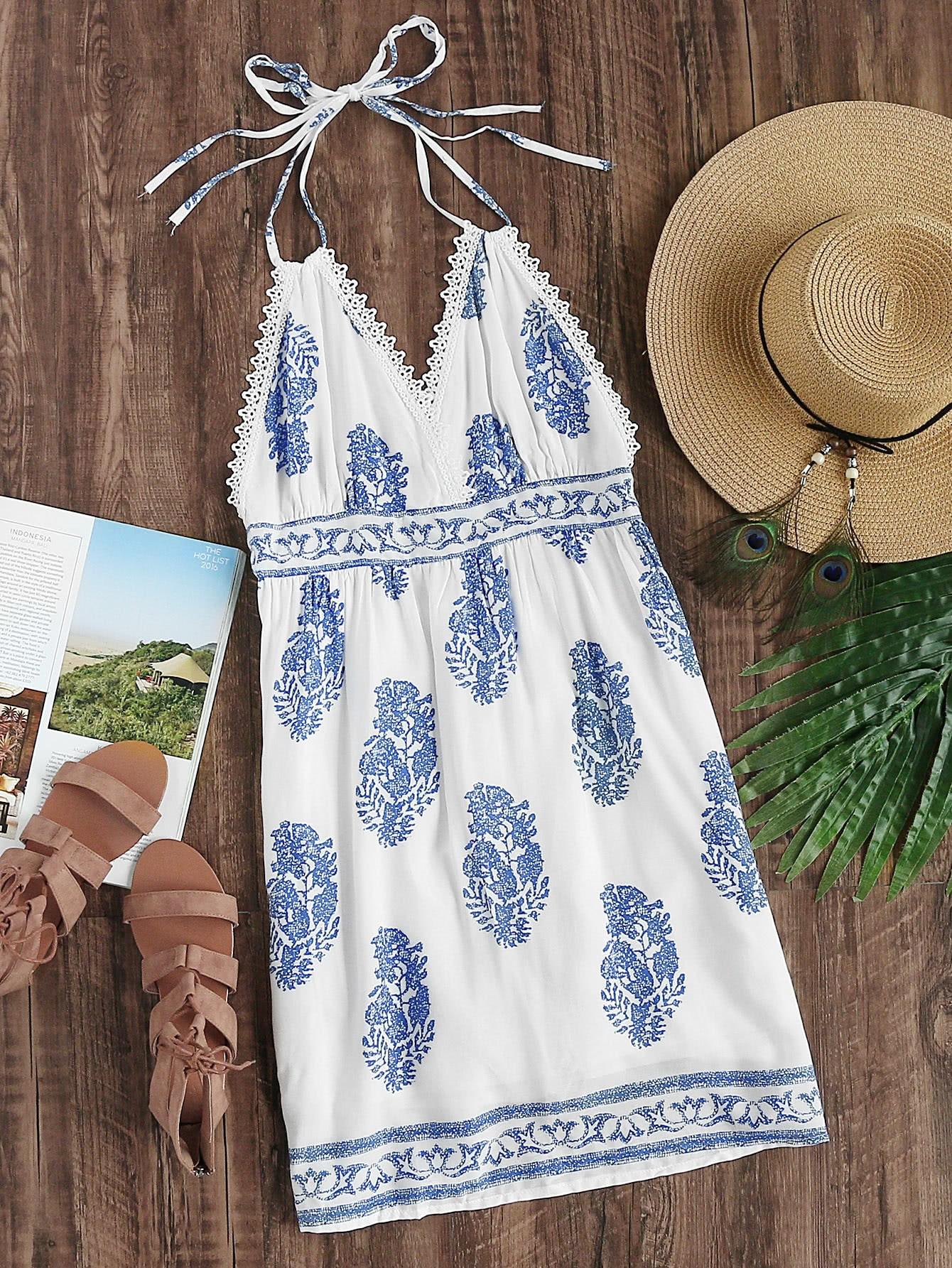 Фото Halter Neck Aztec Print Lace Trim Backless Dress. Купить с доставкой