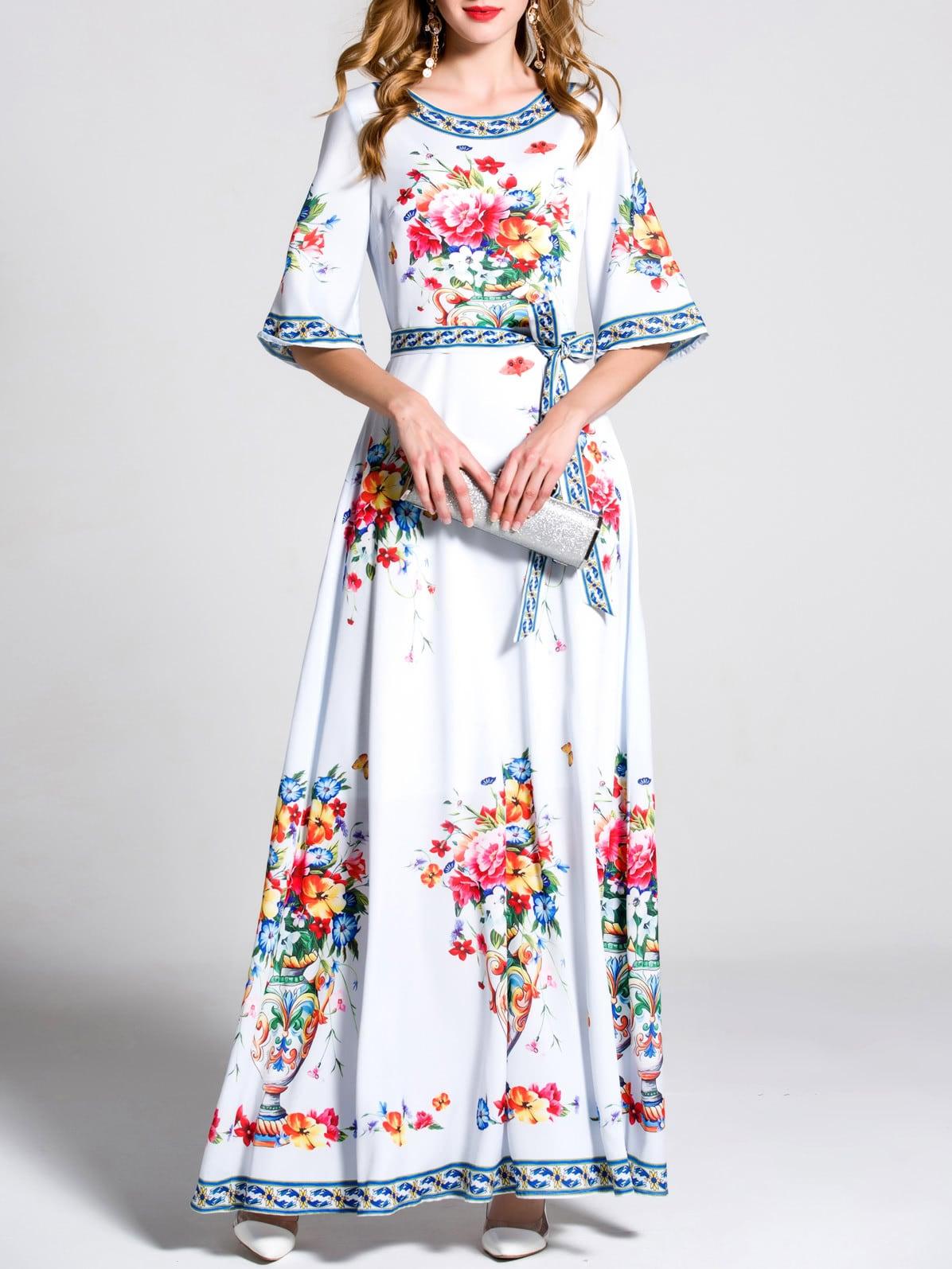Фото Bell Sleeve Flowers Print Maxi Dress. Купить с доставкой