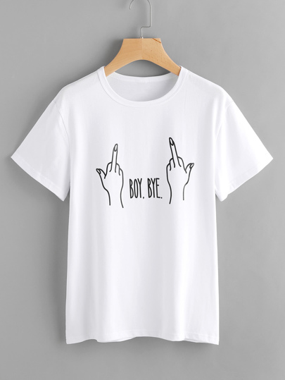 Letter And Gesture Print T-shirt