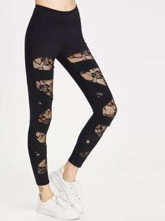 Floral Lace Lined Bandage Leggings
