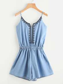 Embroidered Denim Cami Romper