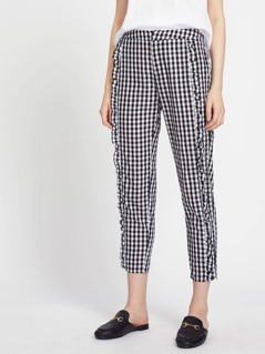 Ruffle Trim Cropped Gingham Peg Pants