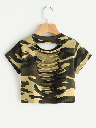 Camo Print Ladder Cut Out Tee