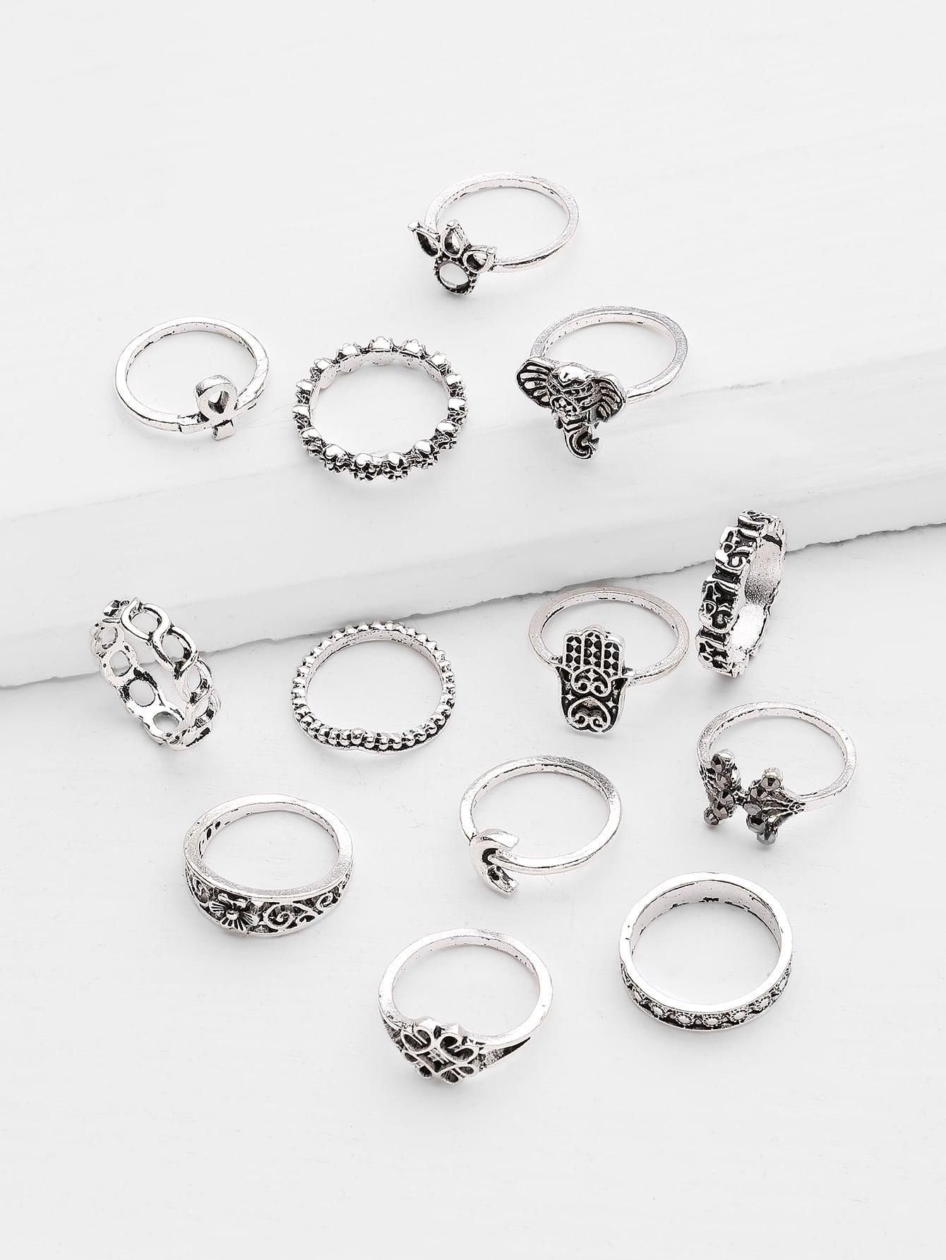 Фото Crown And Flower Design Ring Set 13pcs. Купить с доставкой