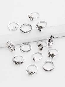 13 piezas de anillo con diseño de corona y flor