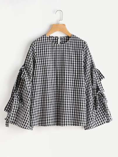 Split Bow Tie Trumpet Sleeve Keyhole Back Gingham Blouse