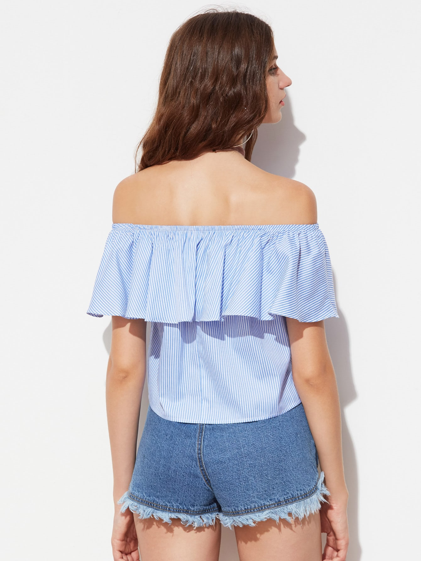 Flounce Off Shoulder Embroidered Striped Top