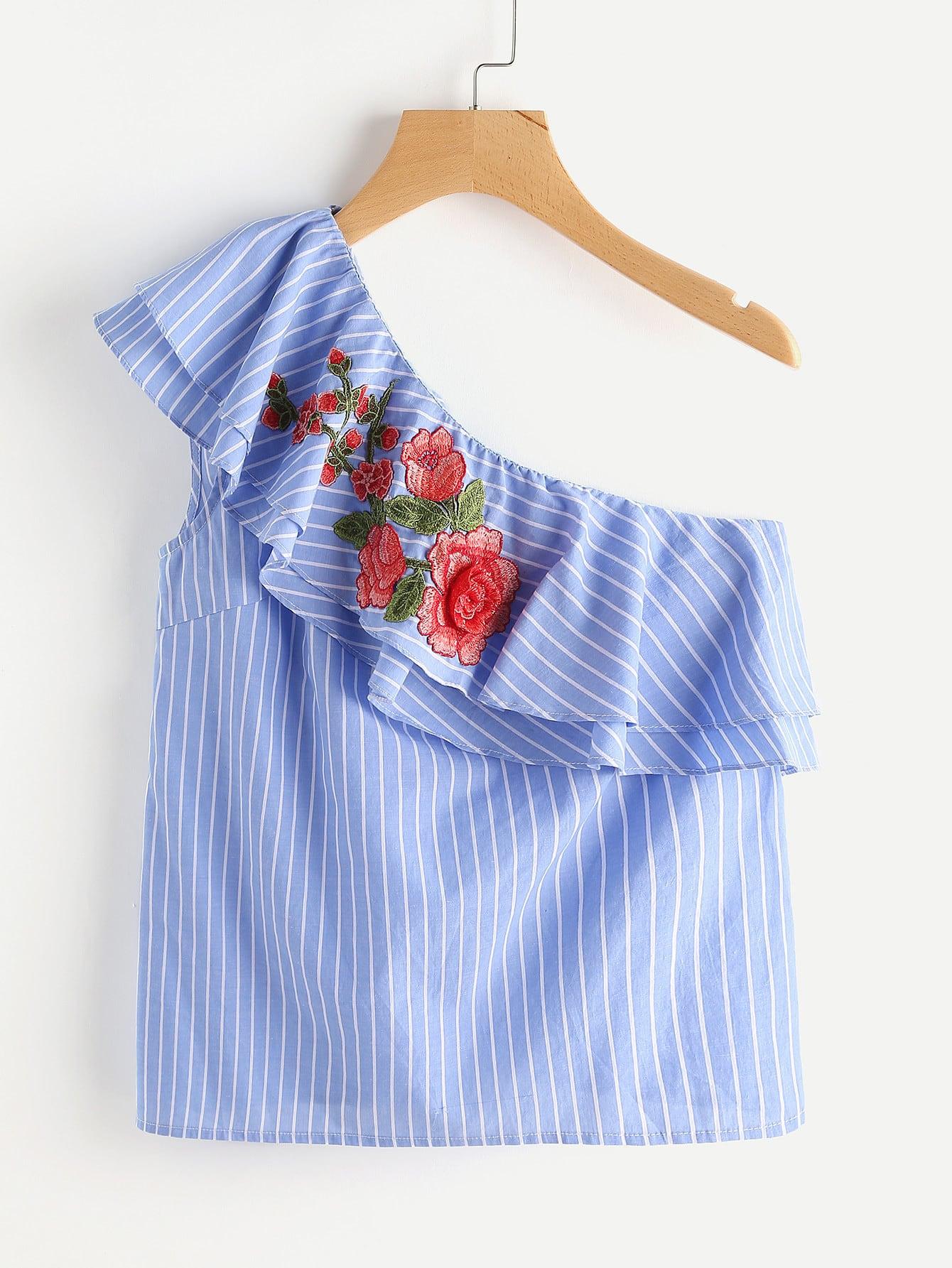 Фото 3D Flower Applique Layered Flounce One Shoulder Pinstripe Top. Купить с доставкой