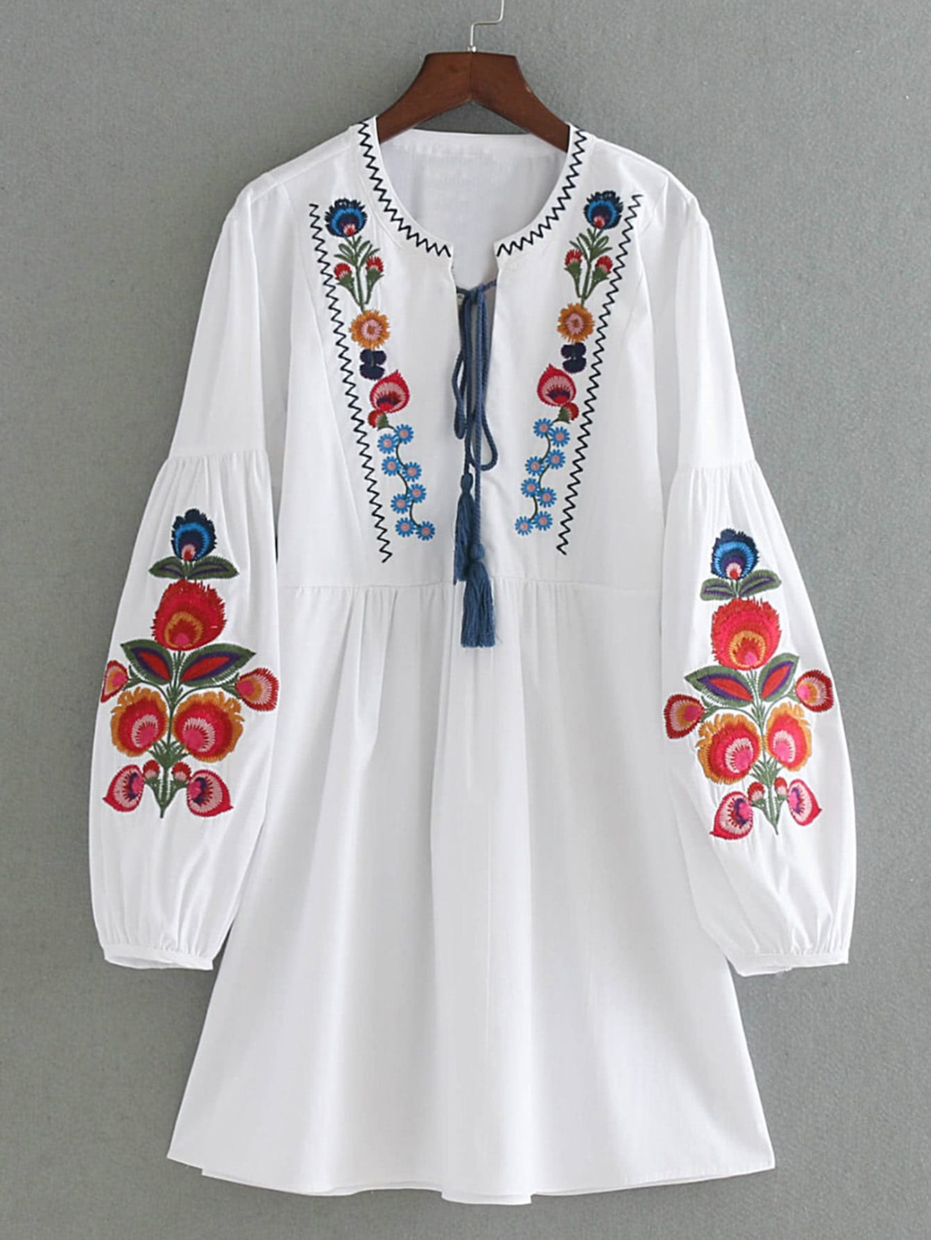 Drop Shoulder Flower Embroidery Tassel Tie Dress long drop shoulder sweatshirt dress with tassel