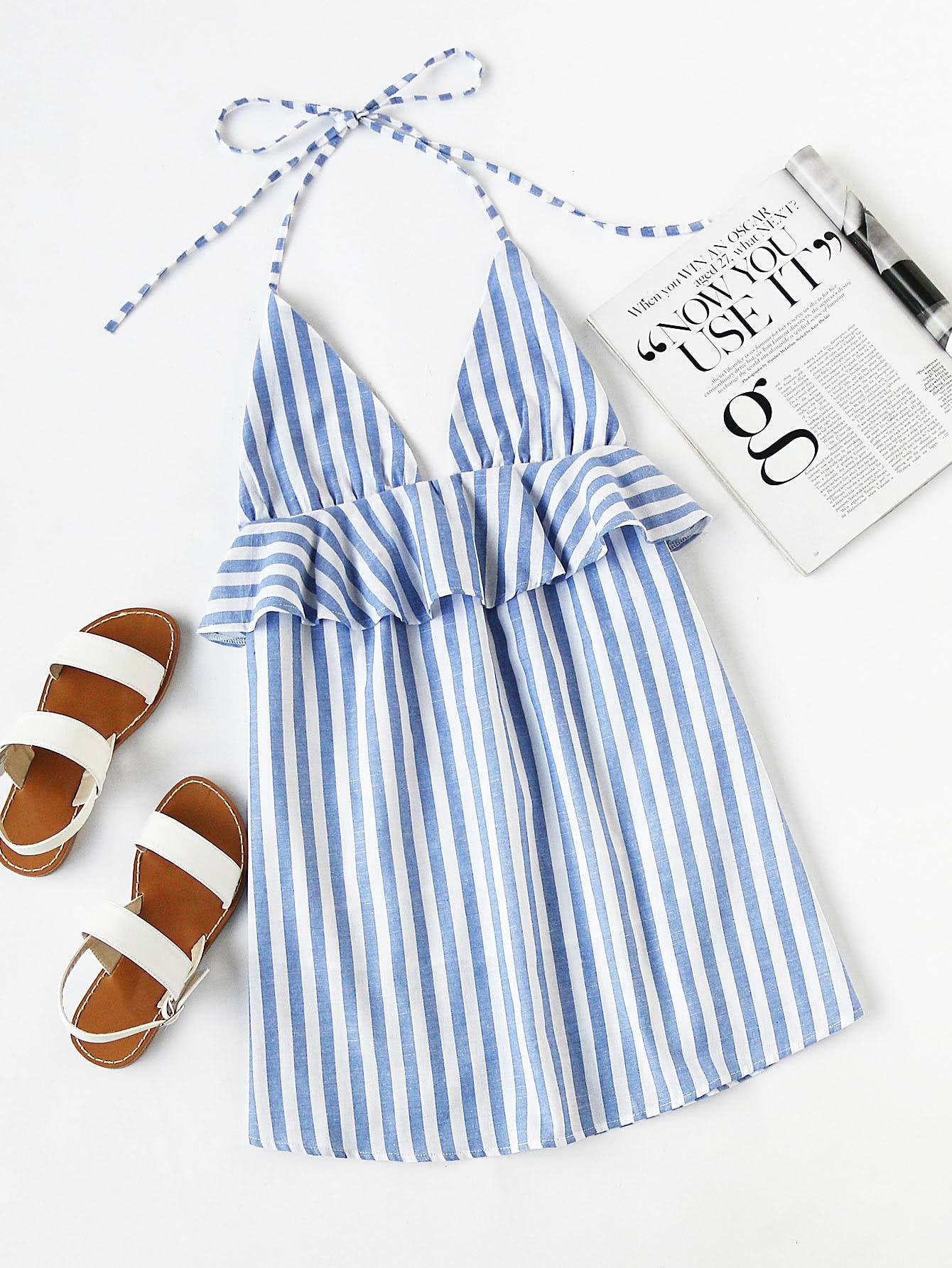 Фото Halter Neck Vertical Striped Frill Trim Dress. Купить с доставкой