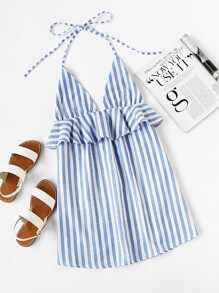 Halter Neck Vertical Striped Frill Trim Dress ROMWE