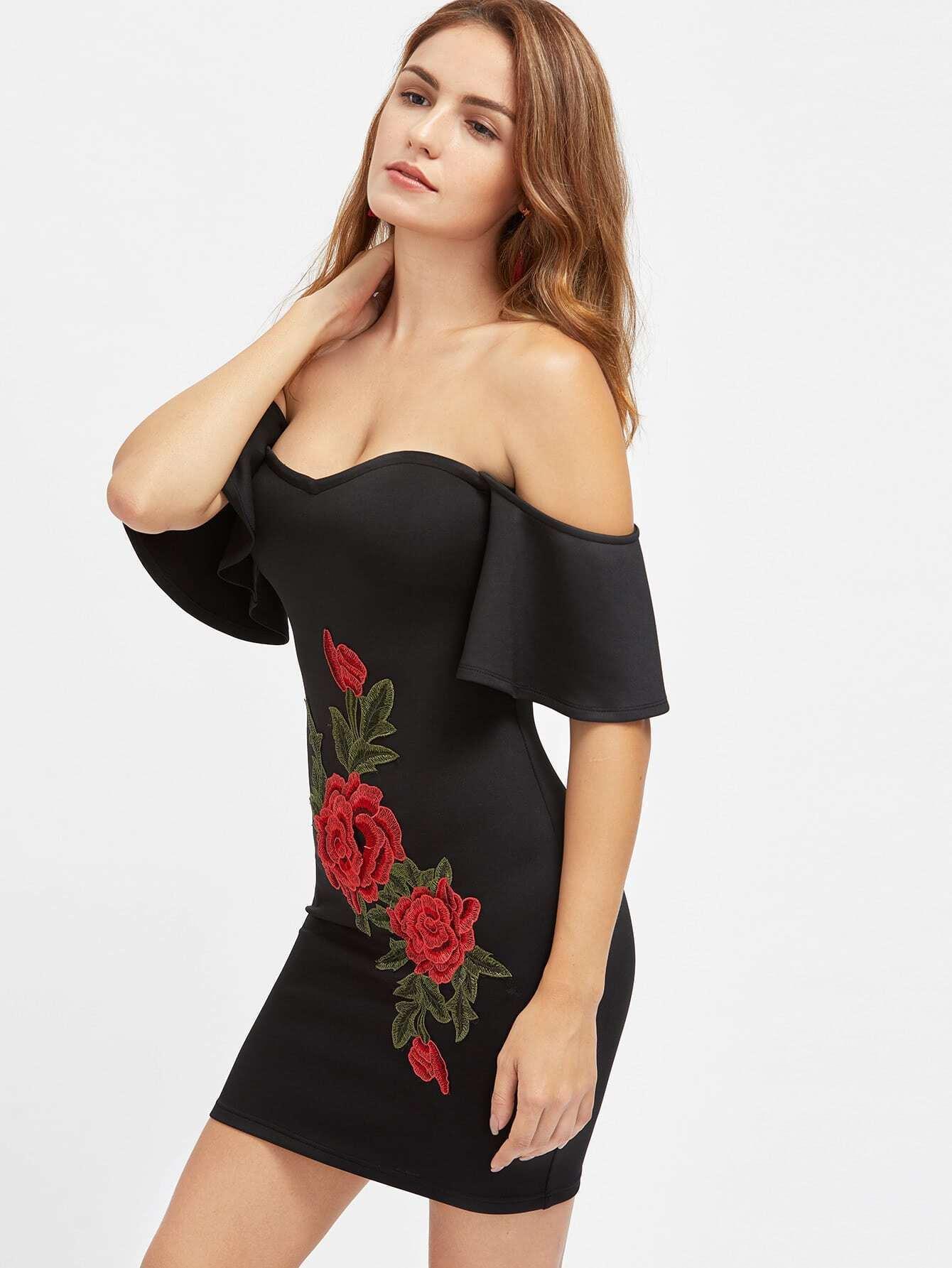 Flutter Sleeve 3D Rose Applique Sweetheart Bardot Dress