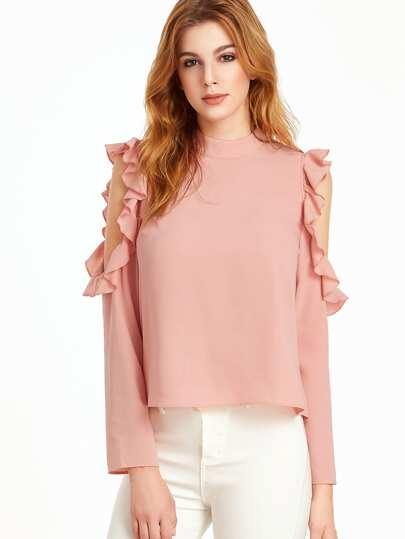 Open Shoulder V Cut Out Back Ruffle Top