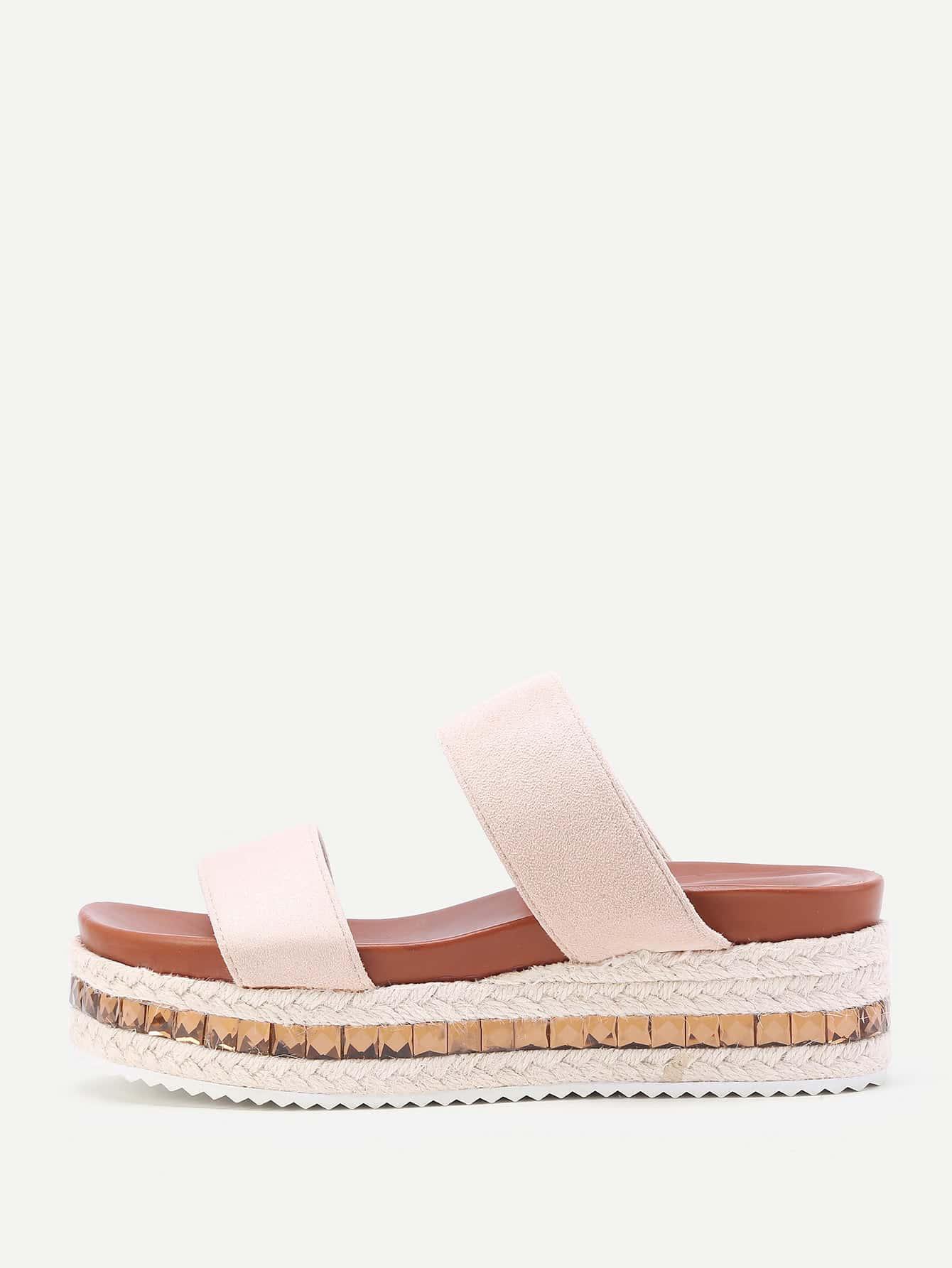 Фото Strappy Woven Flatform Slip On Sandals. Купить с доставкой