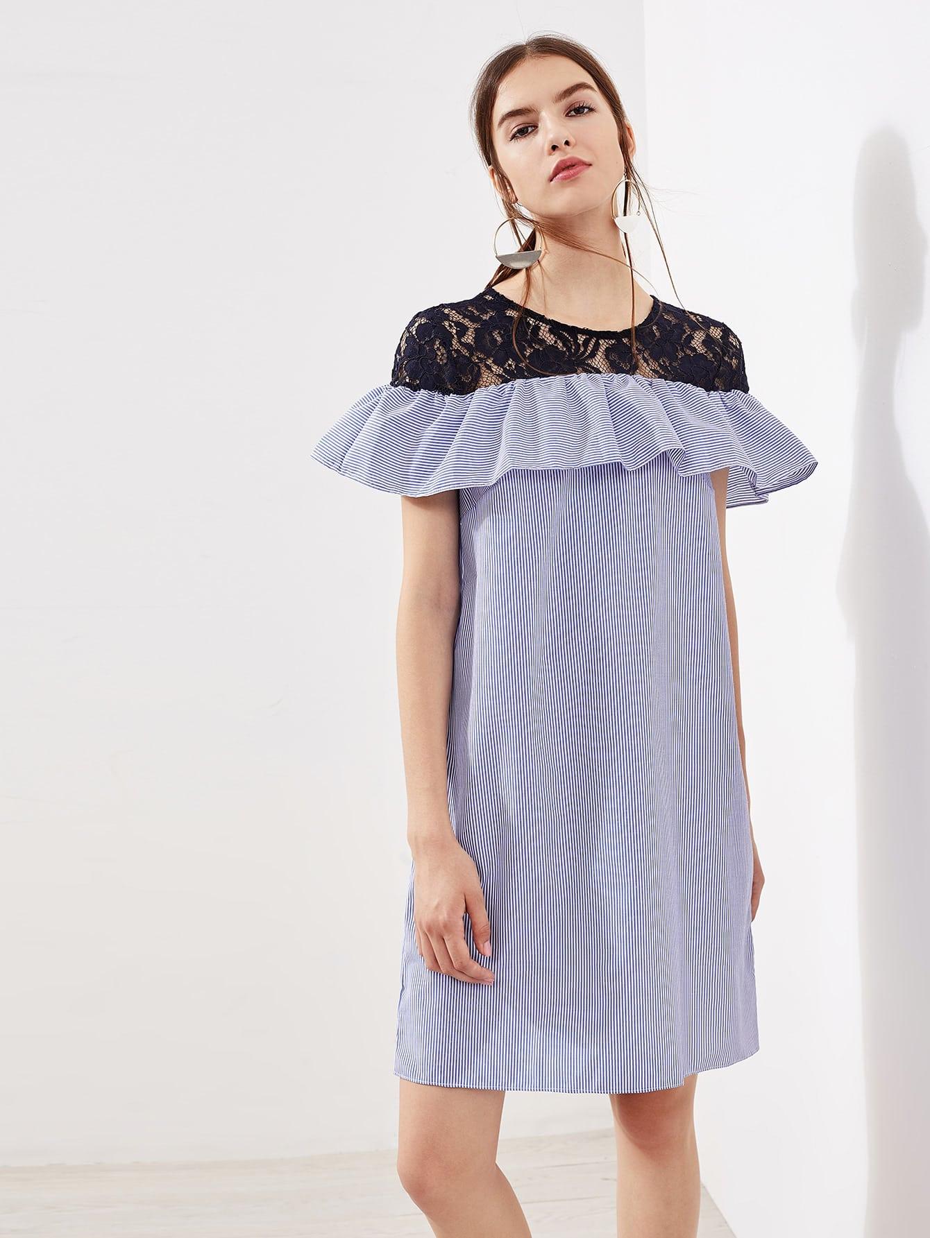 Фото Contrast Lace Frill Trim Pinstripe Dress. Купить с доставкой