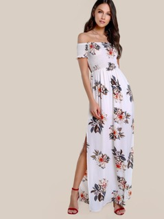 Floral Print Ruffle Hem Dress FLORAL