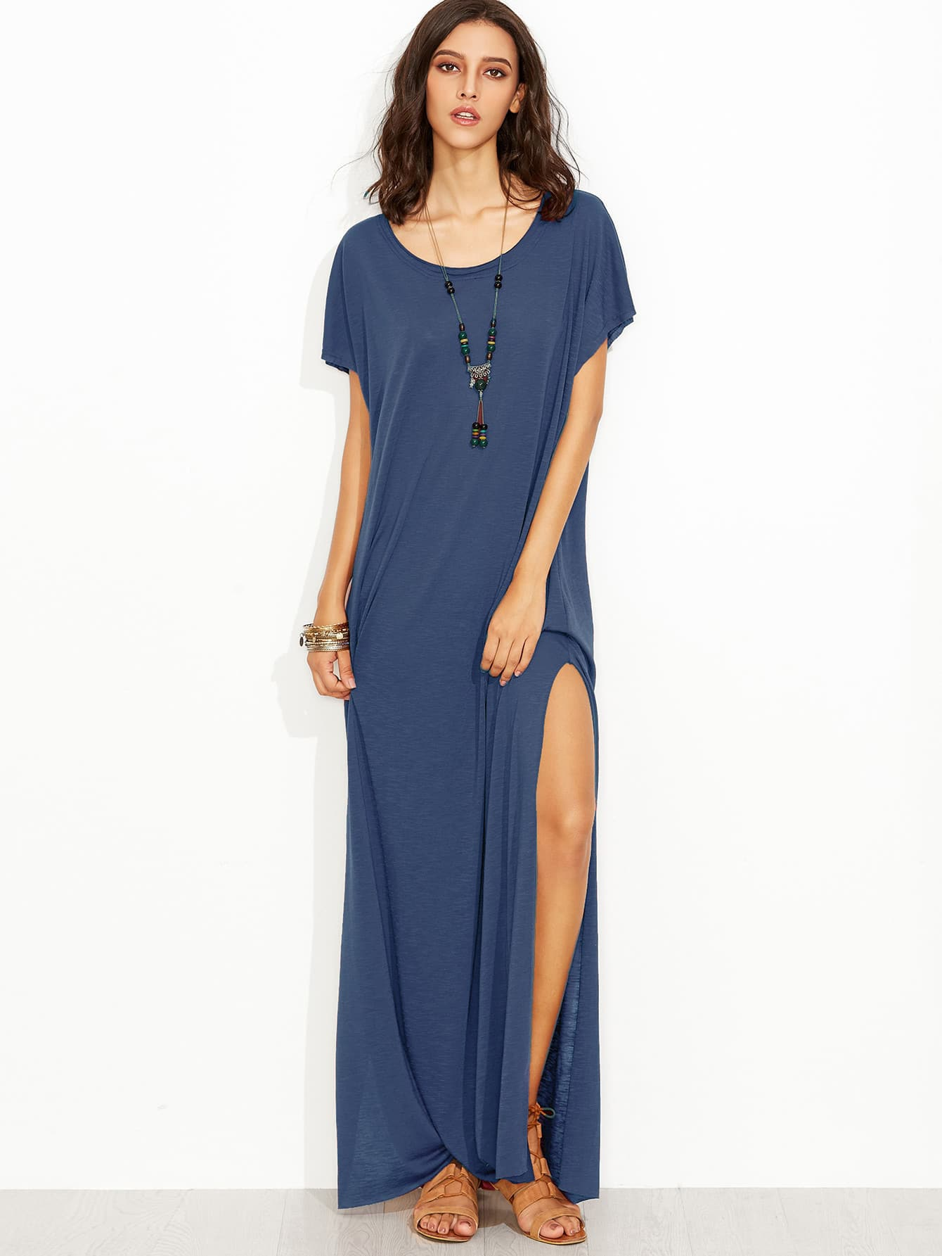 Side Slit Loose Fit Maxi Tee Dress thumbnail