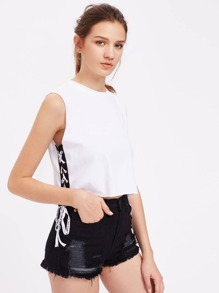 Contrast Lace Up Side Raw Edge Tank Top