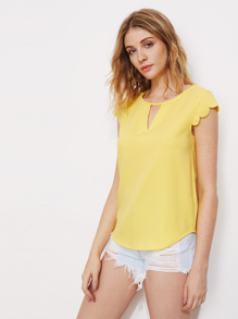 V Notch Front Scallop Cap Sleeve Dolphin Hem Top