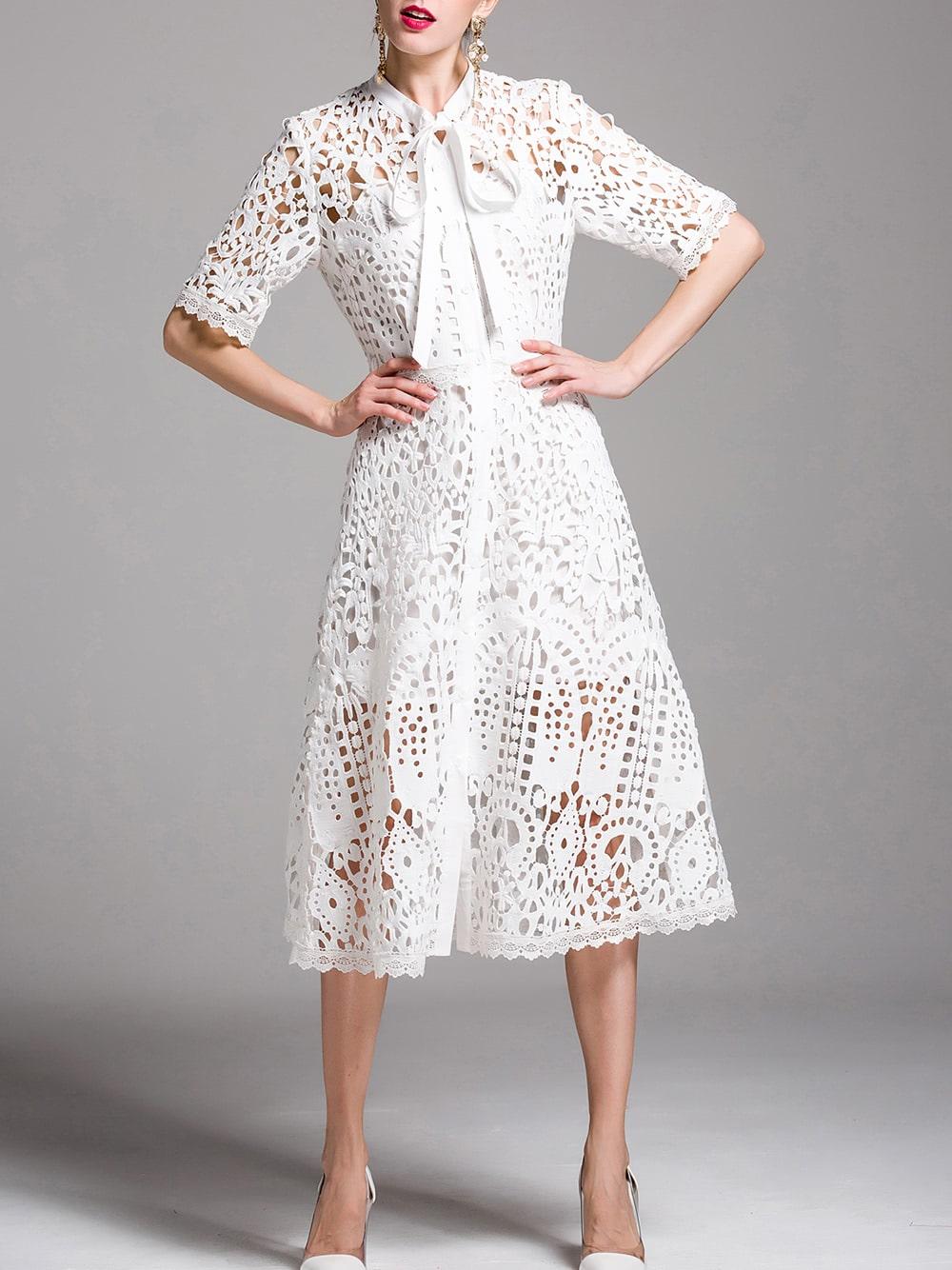 Фото Tie Neck Crochet Hollow Out Dress. Купить с доставкой
